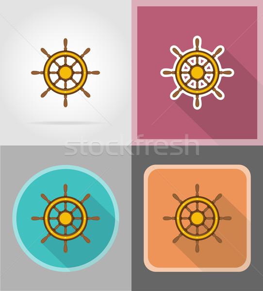 Kierownica statku ikona odizolowany tle łodzi Zdjęcia stock © konturvid