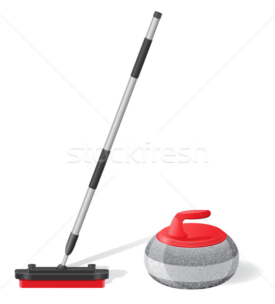 broom and stone for curling sport game vector illustration Stock photo © konturvid