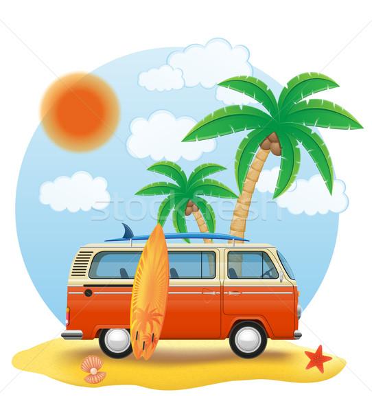 retro minivan with a surfboard on the beach vector illustration Stock photo © konturvid