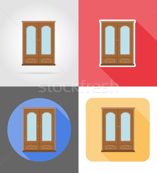 cupboard furniture set flat icons vector illustration Stock photo © konturvid
