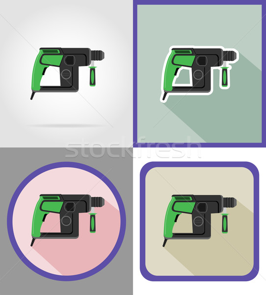 electric drill tools for construction and repair flat icons vect Stock photo © konturvid