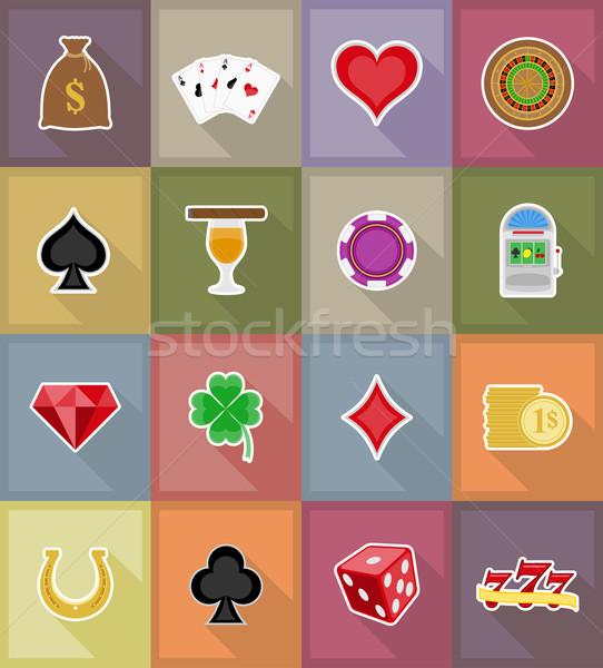 Kaszinó tárgyak felszerlés ikonok illusztráció izolált Stock fotó © konturvid
