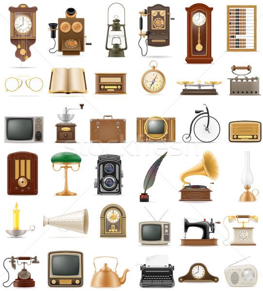 Foto stock: Grande · conjunto · objetos · retro · velho · vintage