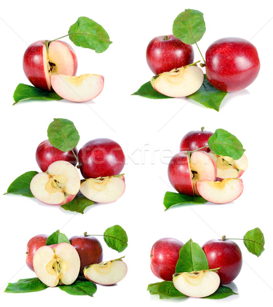 red apple with green leaves Stock photo © konturvid
