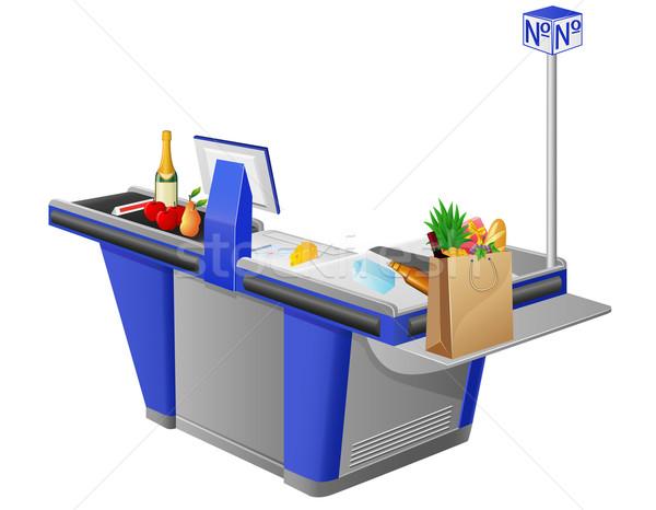 Pénztárgép élelmiszerek számítógép étel gyümölcs vásárlás Stock fotó © konturvid