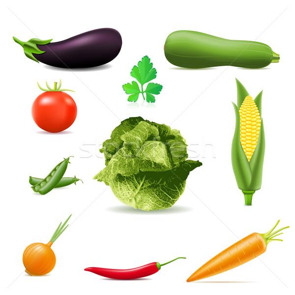 Conjunto ícones legumes isolado branco natureza Foto stock © konturvid
