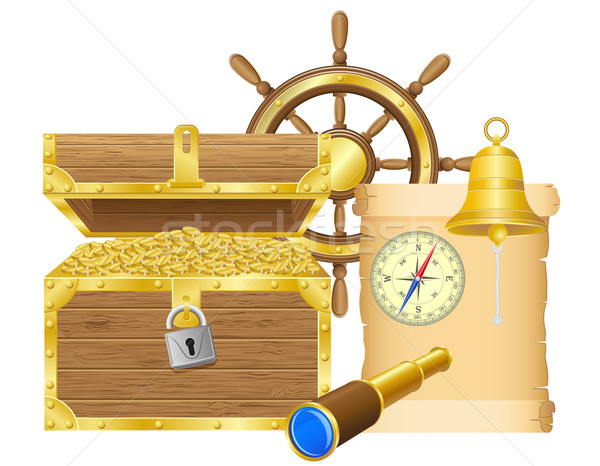 antique treasure chest vector illustration Stock photo © konturvid