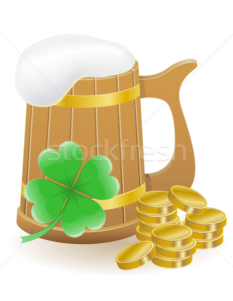 mag beer clover and coins St. Patrick`s day vector illustration Stock photo © konturvid