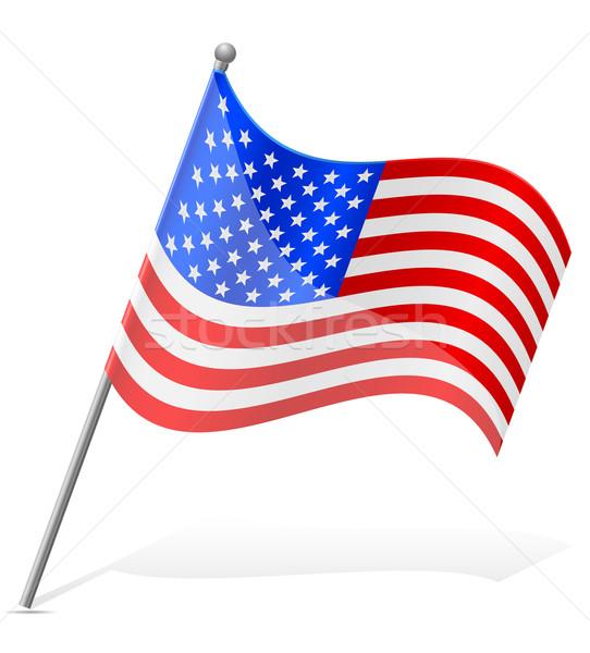 Zászló Egyesült Államok Amerika izolált fehér földgömb Stock fotó © konturvid
