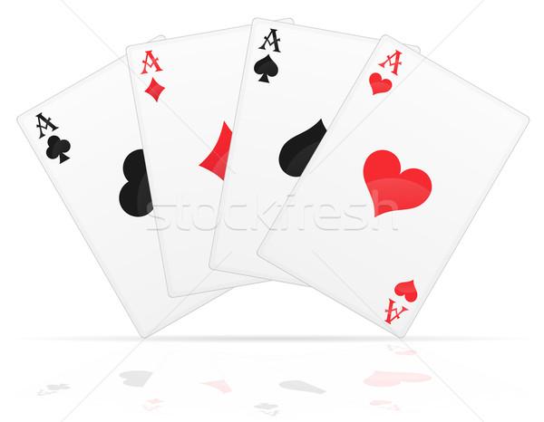 Cartas de jogar aces diferente isolado branco Foto stock © konturvid