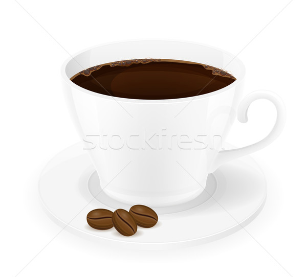 cup of coffee and grains vector illustration Stock photo © konturvid