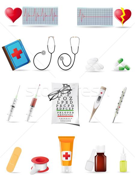 ícone médico conjunto ilustração médico cuidar Foto stock © konturvid