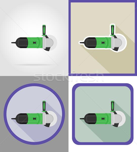 Elektromos daráló szerszámok építkezés javítás ikonok Stock fotó © konturvid