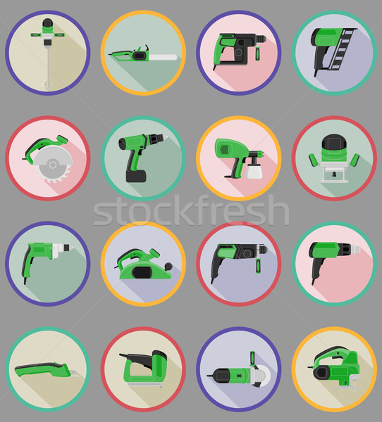 Stock photo: electric tools for construction and repair flat icons vector ill