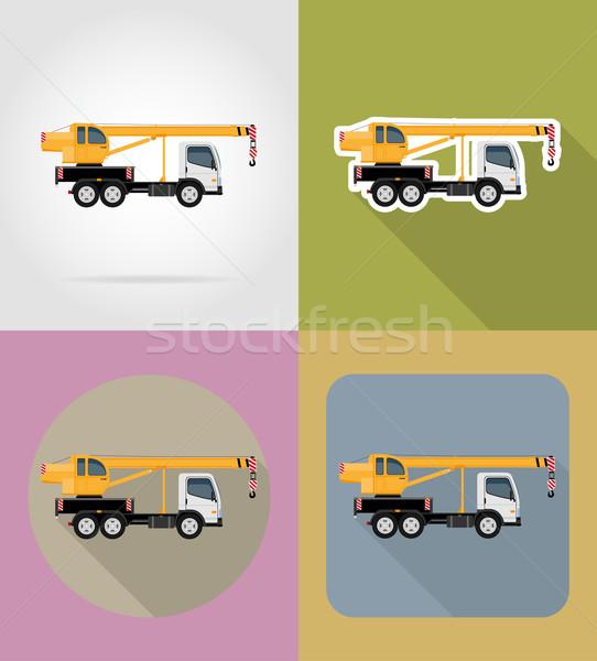 truck crane for construction flat icons vector illustration Stock photo © konturvid