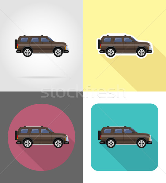 suv car flat icons vector illustration Stock photo © konturvid