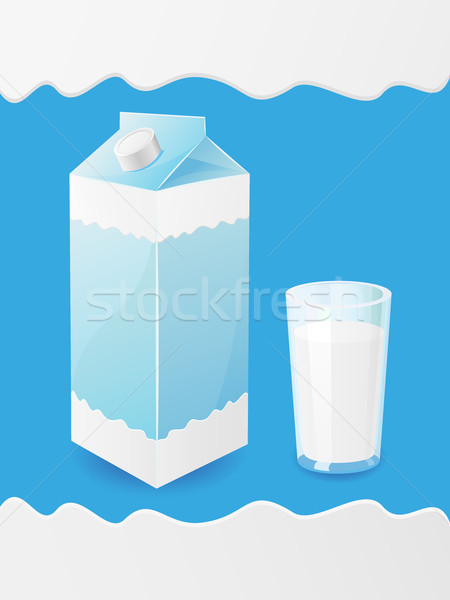 milk is in a package and glass Stock photo © konturvid