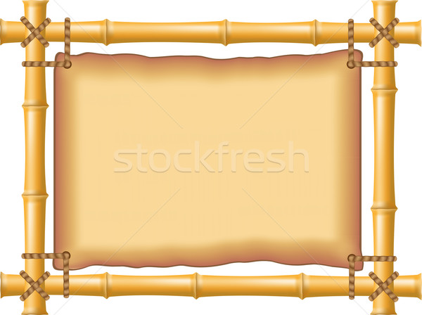 frame made of bamboo and old parchment Stock photo © konturvid