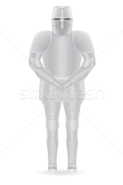 Lovag páncél izolált test háttér biztonság Stock fotó © konturvid