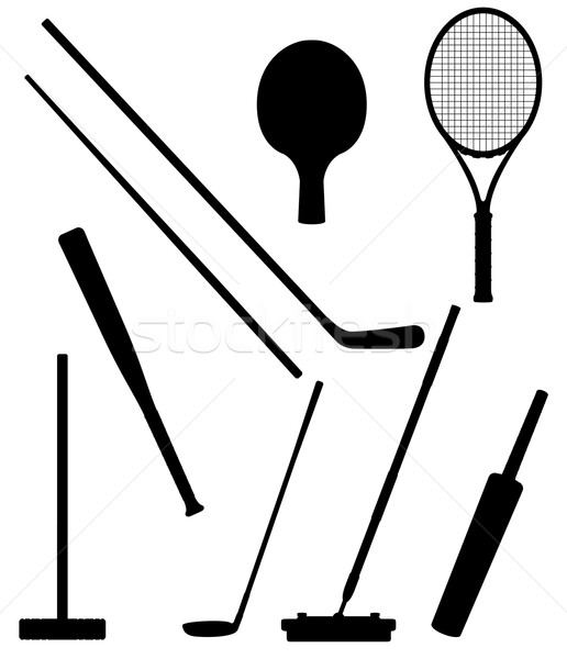 bits and stick to sports black silhouette vector illustration Stock photo © konturvid