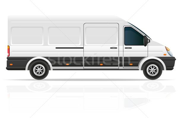 Mini busz fuvar teher izolált fehér Stock fotó © konturvid