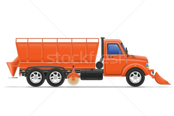 Fret camion neige route vecteur isolé Photo stock © konturvid