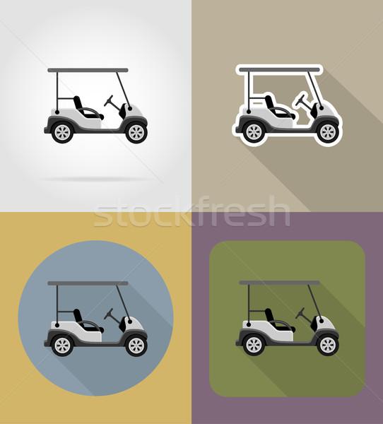 golf car flat icons vector illustration Stock photo © konturvid