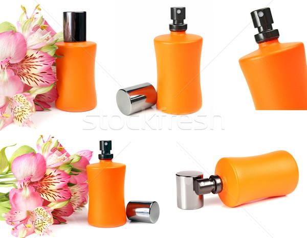 Piccolo bottiglia profumo liquido fiori isolato Foto d'archivio © konturvid