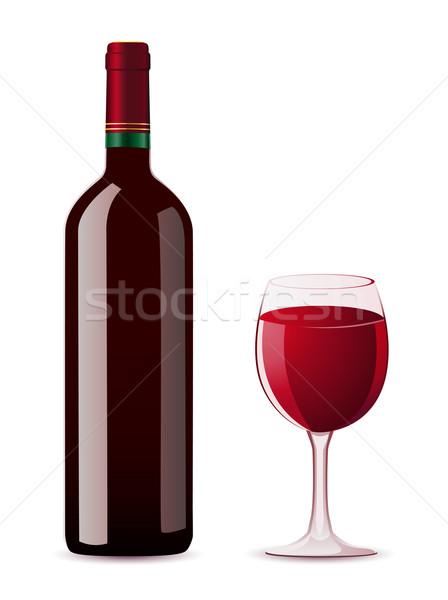 şişe cam kırmızı renk üzüm Stok fotoğraf © konturvid