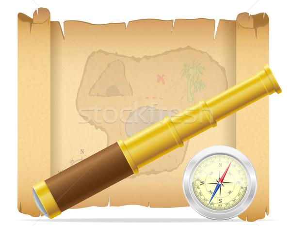 pirate treasure map and telescope with compass vector illustrati Stock photo © konturvid