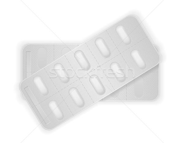 Médicos pastillas paquete tratamiento aislado blanco Foto stock © konturvid