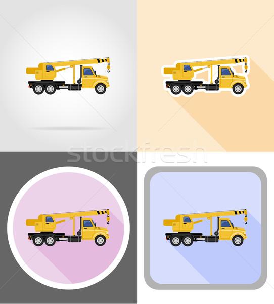 Ciężarówka Żuraw towary ikona wektora Zdjęcia stock © konturvid