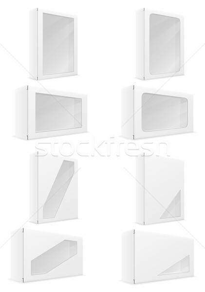 white paper carton box packing set icons vector illustration Stock photo © konturvid