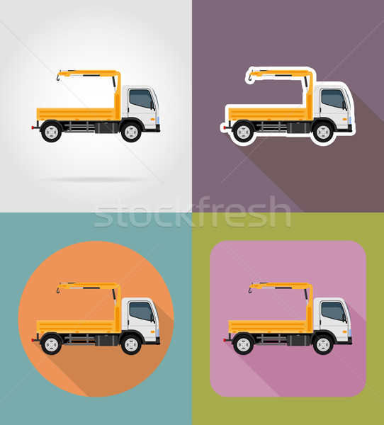 truck with a small crane for construction flat icons vector illu Stock photo © konturvid