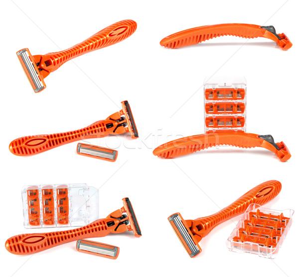 Biztonság borotva izolált fehér háttér narancs Stock fotó © konturvid