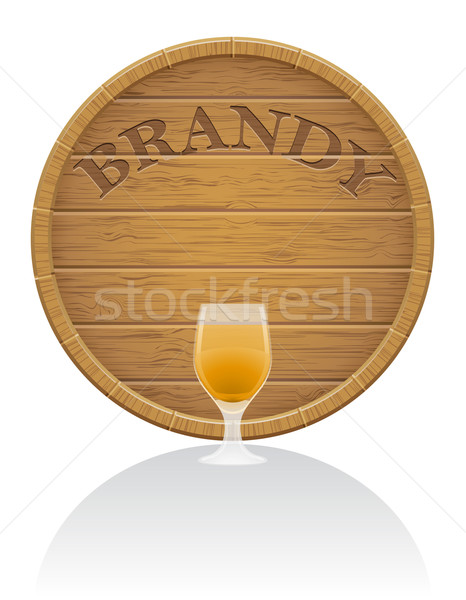wooden brandy barrel and glass vector illustration EPS10 Stock photo © konturvid