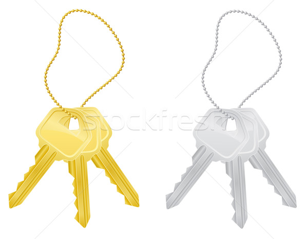 Stock fotó: Szett · kulcsok · ajtó · zár · izolált · fehér