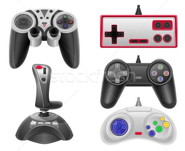 set icons joysticks for gaming consoles vector illustration EPS  Stock photo © konturvid