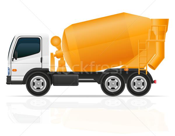 грузовика конкретные смеситель строительство изолированный белый Сток-фото © konturvid