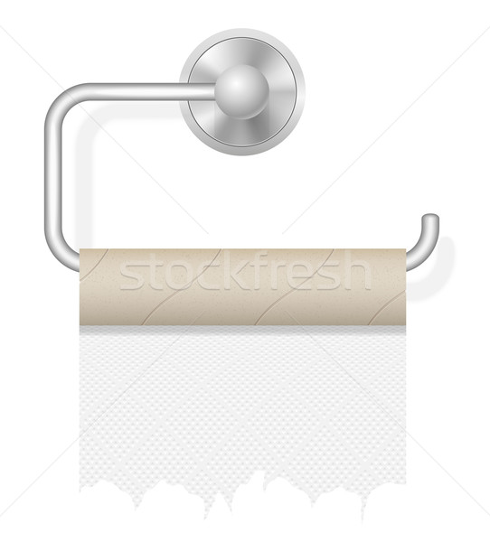 piece toilet paper on holder vector illustration Stock photo © konturvid