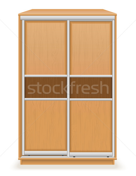 modern wooden furniture wardrobe with sliding doors vector illus Stock photo © konturvid