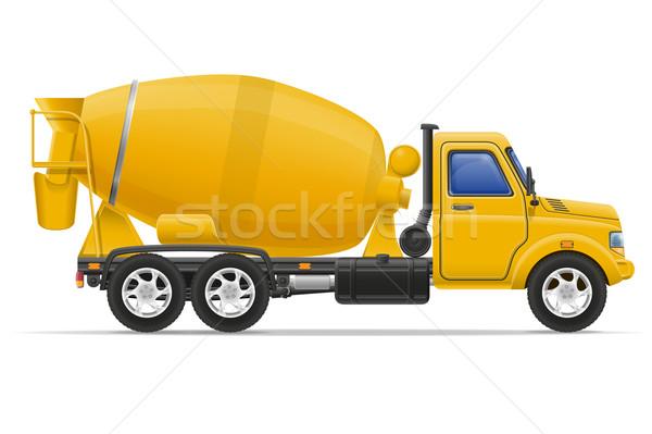 Vracht vrachtwagen beton mixer geïsoleerd witte Stockfoto © konturvid