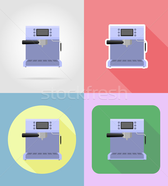 coffee maker household appliances for kitchen flat icons vector  Stock photo © konturvid