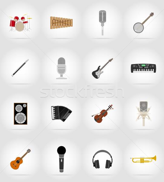 music items and equipment flat icons vector illustration Stock photo © konturvid