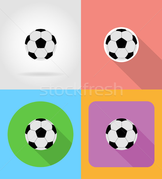 football soccer ball flat icons vector illustration Stock photo © konturvid