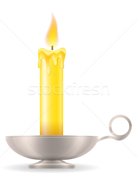 candle with candlestick old retro vintage icon stock vector illu Stock photo © konturvid