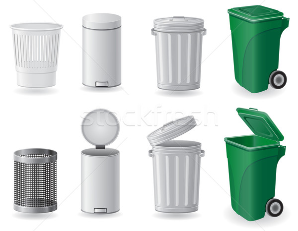trash can and dustbin set icons vector illustration Stock photo © konturvid