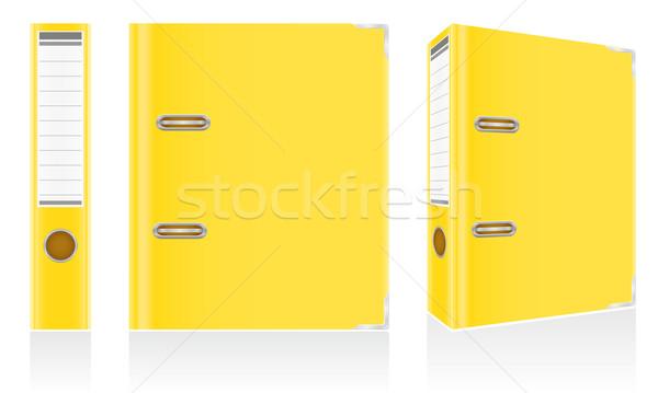 folder yellow binder metal rings for office vector illustration Stock photo © konturvid