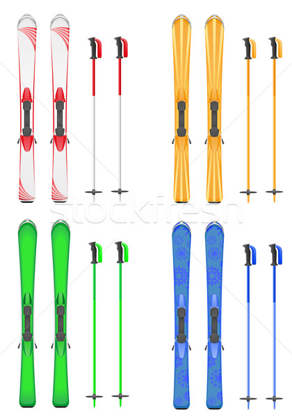 set icons skis mountain vector illustration Stock photo © konturvid