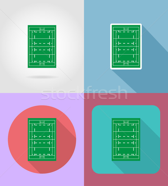 field for rugby flat icons vector illustration Stock photo © konturvid